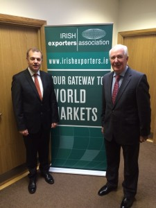 Simon McKeever, CEO and James McGee, Athlone Extrusions at this mornings new members breakfast briefing in Athlone.
